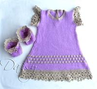 Bebek Elbiseleri,kumaşı Örgü İle Süsleme