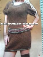 Kahverengi Örgü Elbise