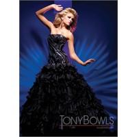 Siyah Renk Ve Siyah Desenli Tony- Bowls Abiye Mode