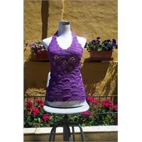 Lila tığ işi bluz modeli