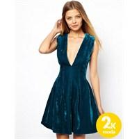 Kışa Özel Kadife Elbise Modelleri