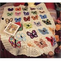 kelebek motifli tığ işi bebek battaniyesi