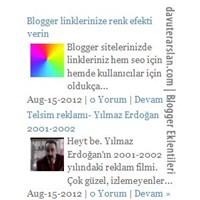 Blogger Resimli Son Yazılar Eklentisi