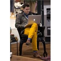 2013 Erkek Koleksiyonu Hardal Sarısı Pantolon Mode
