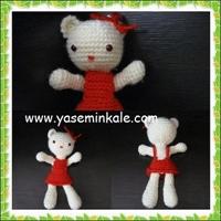 Örgü Oyuncak Pisicik-çiçekler-maskotlar