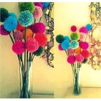 Artan Yün İplerden Ponpon Çiçek Yapımı