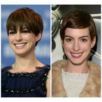 Anne Hathaway'in Kısa Saç Modelleri