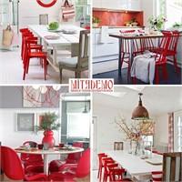 Kırmızılı Mutfak Ve Yemek Odaları