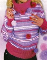 Ponponlu Lila Rengi Örgü Kazak Modeli (anlatımlı)