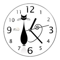 İf Clocktan Dekoratif Black Cat Duvar Saati