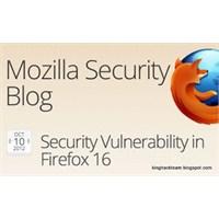 Mozilla Firefox V16.0 Güvenlik Açığı