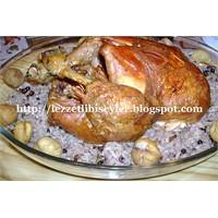 Fırında Bütün Tavuk Kızartması İç Pilav İle