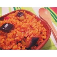 Patlıcanlı Bulgur Pilavi