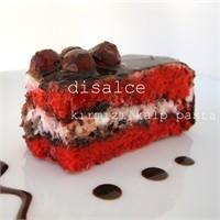 Kırmızı, Çikolatalı Kalp Pasta