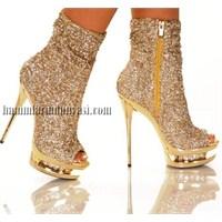 Gold Altın Renk Taşlı Gelin Ayakkabısı Modelleri