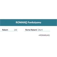 Excelde Rakamlari Roma Rakamina Cevirme