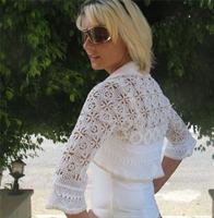 Motifli Beyaz Bolero Modeli