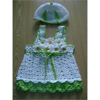 Şahane Bebek Elbisesi Ve Şapkası