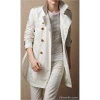 Beyaz Trençkot Modelleri 2014