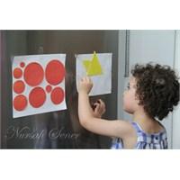 Çocuklara Evde Kartondan Geometrik Şekilli Yapboz
