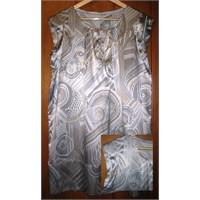 Likralı Saten Elbise