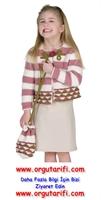 7 Yaş Örgü Kız Çocuk Hırka Ve Örgü Çanta Modeli