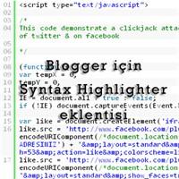 Blogger İçin Syntax Highlighter Eklentisi