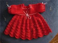 Kırmızı Tığ İşi Bebek Elbisesi Yapılışı