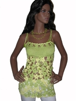 Yeşil Tığ İşi Çiçek Motifli Askılı Bluz Yapılışı
