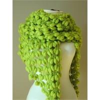 Fıstık yeşili fıstık örgü şal modeli