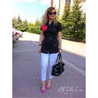 Siyah Beyaz Çizgili Stiletto Trendy
