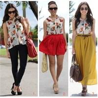 1 Floral Bluz İle 3 Farklı Kombin