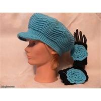 Mavi kasketli bayan şapka modeli
