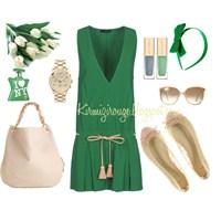 Yeşil Ve Krem Rengi Yazlık, Rahat Kombin