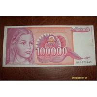 100.000 Yugoslav Dinari
