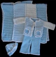 Mavi Örgü Bebek Battaniyesi Ve Hırka Takımı