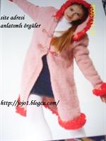 Kız Çocukları İçin Kapüşonlu Örgü Palto