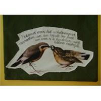 Kuş Desenli, Nefti Yeşil Çanta (Siyah Saplı)
