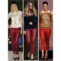 Sonbaharı Isıtan Kırmızı Deri Pantolonlar