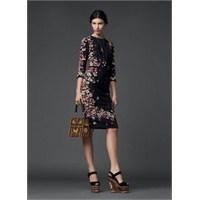 Uzun Kollu Desenli Elbise Modelleri 2014