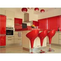 Kırmızı Mutfak Dolapları(Akrilik Boyalı)