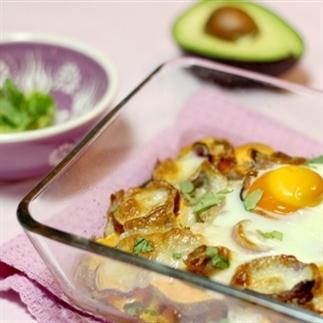 Ovenschotel met zoete aardappel, tonijn en avocado