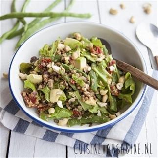 Salade met boontjes, tonijn & linzen