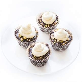 Drie chocolade cupcakes
