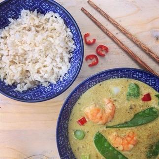 Detox recept: Thaise groene curry met garnalen