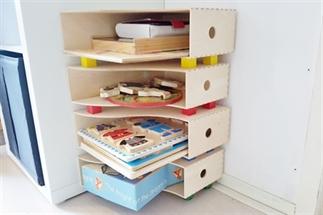 Ikea hack; Puzzelkast van lectuurbakken