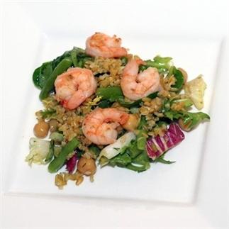 Salade met gamba enfreekeh