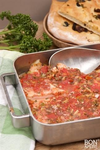 Vis uit de oven met versgebakken Focaccia!