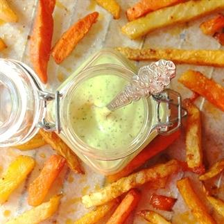 Detox snack: Groentefriet met dille mayonaise