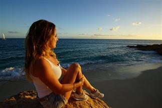 Prachtige zonsondergang in Cupecoy Bay, St.Maarten